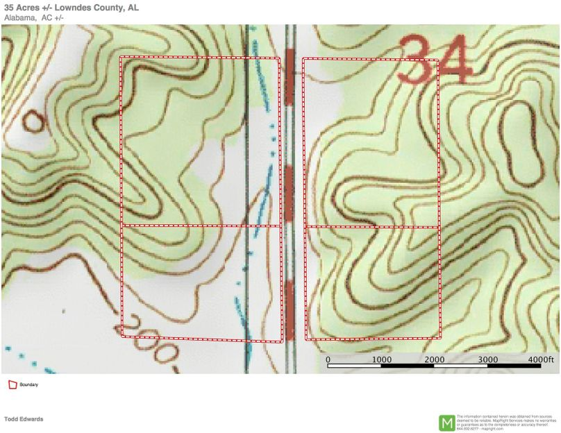 Topo map 35 approx. 35 acres lowndes county, al