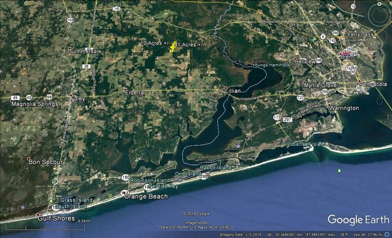 Aerial 9 approx. 51 acres baldwin county, al
