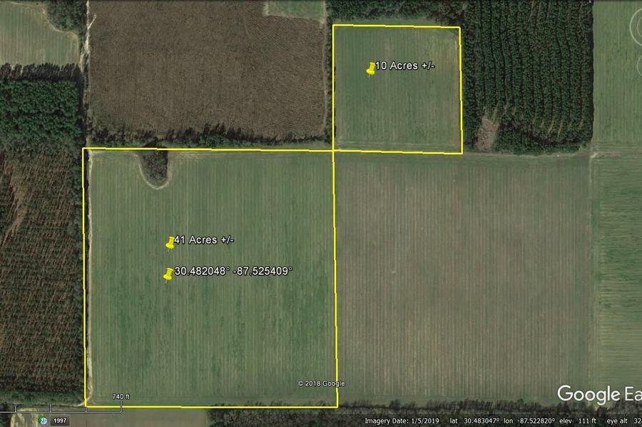 Aerial 1 approx. 51 acres baldwin county, al