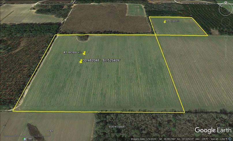 Aerial 2 approx. 51 acres baldwin county, al