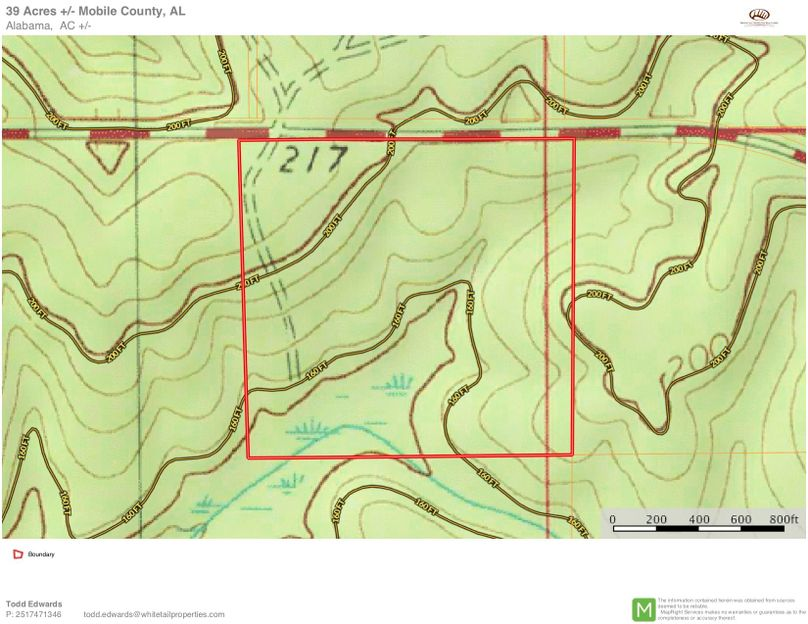 Topo map - approx. 39 acres mobile county, al