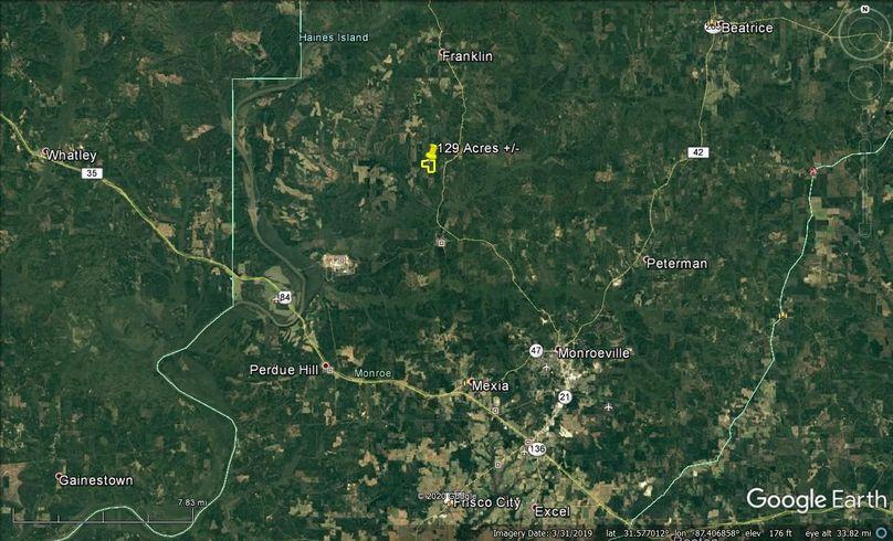 Aerial 7 approx. 129 acres monroe county, al