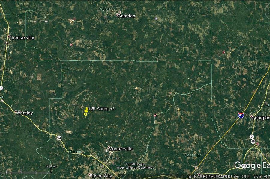 Aerial 8 approx. 129 acres monroe county, al
