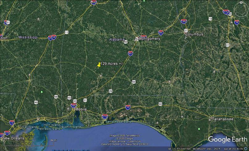 Aerial 9 approx. 129 acres monroe county, al