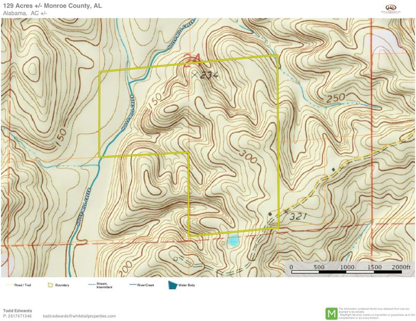 Topo map for approx. 129 acres monroe county, al
