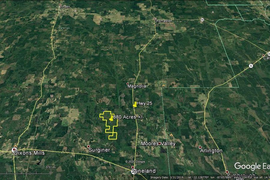 Aerial 8 approx. 880 acres marengo county, al