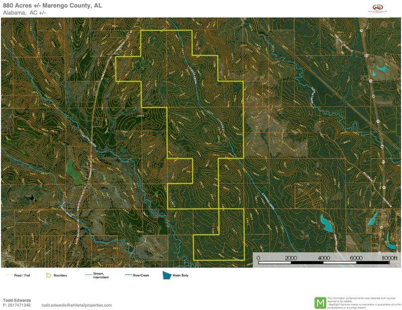 Contour map overview - approx. 880 acres marengo county, al
