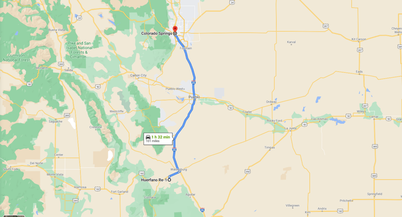 Huerfano 43.92 poole directions to colorado springs