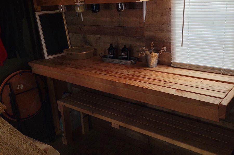 6 inside cabin kitchen work area