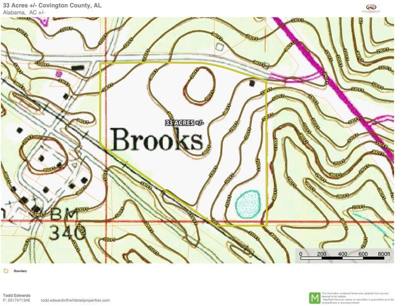 Topo map approx. 33 acres covington county, al copy