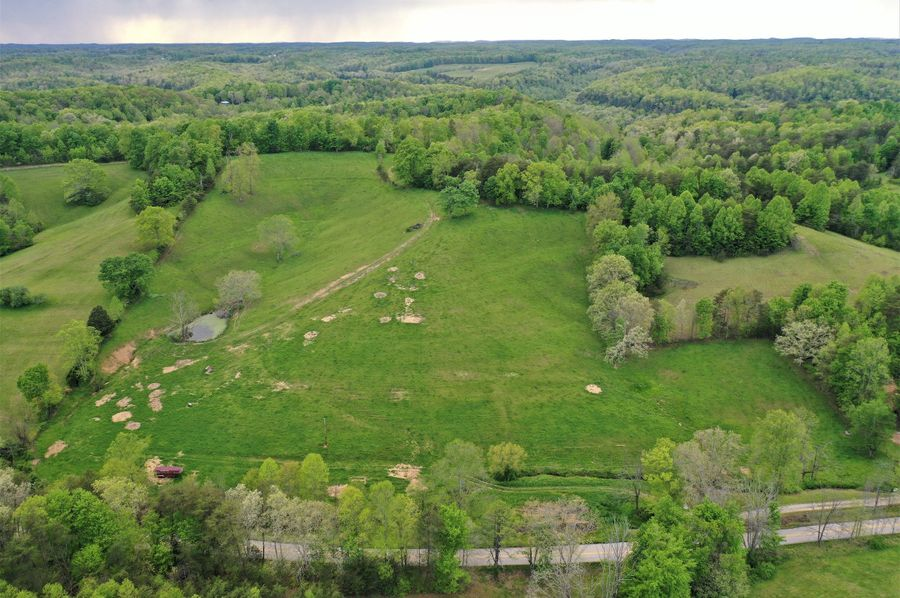 010 aerial drone shot of the east section of the property along kellacey road