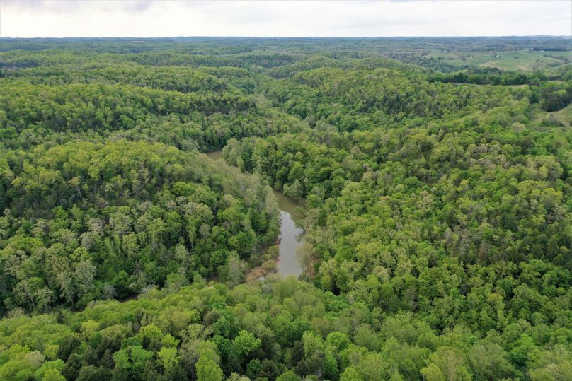 027 aerial drone shot at the west area of the property overlooking the daniel boone national forest and cave run lake headwaters