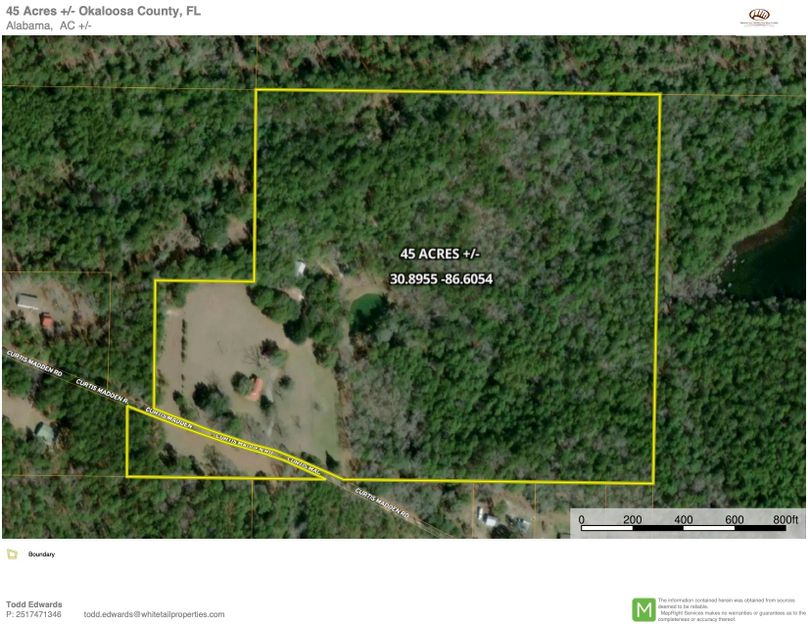 Aerial 1 approx. 45 acres okaloosa county, fl