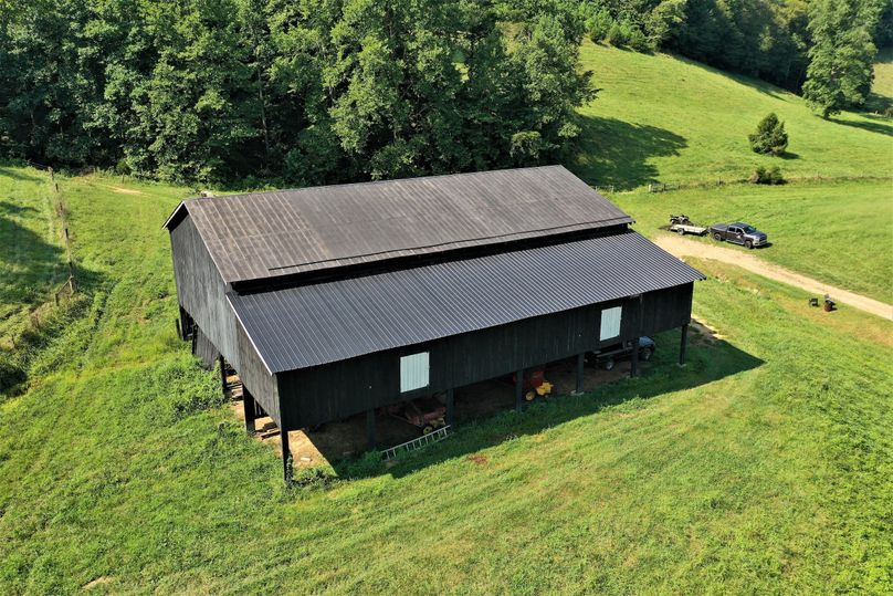 039 low elevation drone shot of the large barn